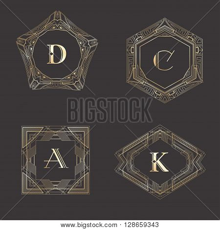 Monogram logo template with  calligraphic elegant ornament. Identity design with letter D, C, A, K for shop, store or restaurant, heraldic, barbershop or barber, beauty salon, justic lawyer, boutique or hotel