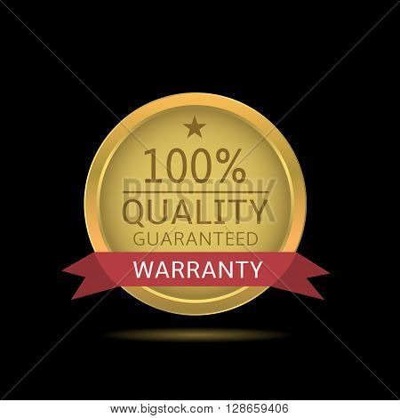 Quality guaranteed label. Golden sign with red warranty ribbon