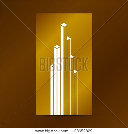 Abstract vector cube sign symbol emblem logo. Abstract geometric design element. Linear building icon downtown symbol architecture graphic. Gold bright shine abstract design. Vector illustration.