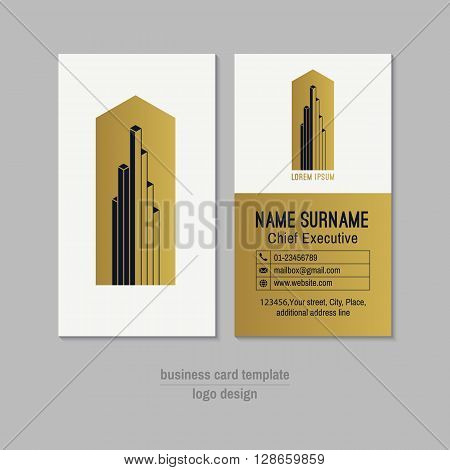 Abstract vertical gold white and dark blue vector business card template. Visit card layout. Corporate business card . Modern business card with abstract isometric logo and icons