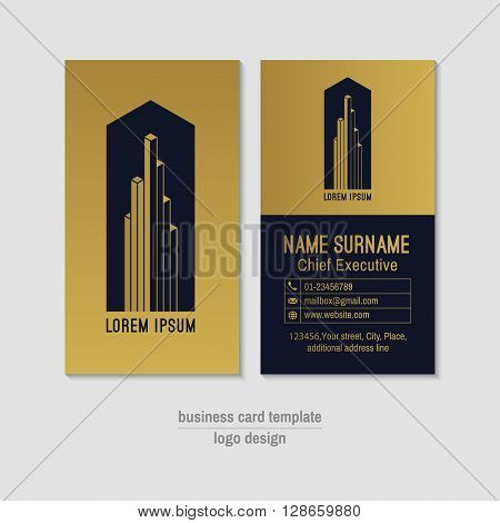 Abstract vertical vector business card template. Gold and blue business card layout. Corporate business card . Modern visit card with abstract logo and icons. Visiting card with gold foil elements