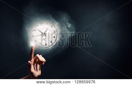 Businessman hand press clock time button icon