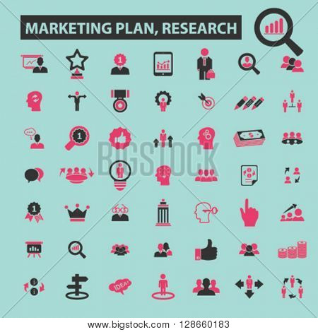 marketing plan, research icons