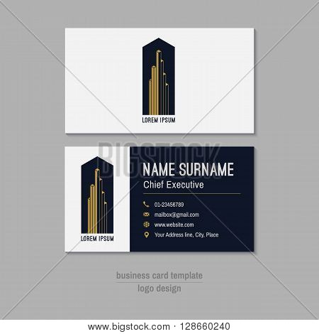 Abstract vector business card template. Gold white and blue business card design. Corporate business card background. Modern business card with abstract logo. Vector branding design element.