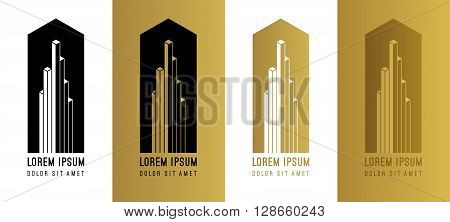 Abstract gold vector logo design elements. Abstract golden vector isometric logo design template. Isometric cube logo design for business company corporate financial center apartment architecture.