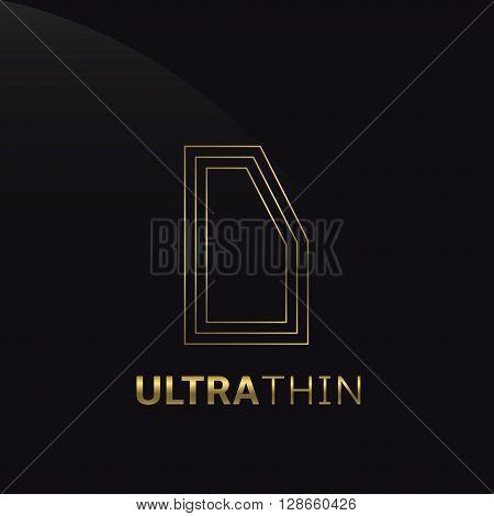 Ultrathin D Letter logo template. Golden D letter symbol