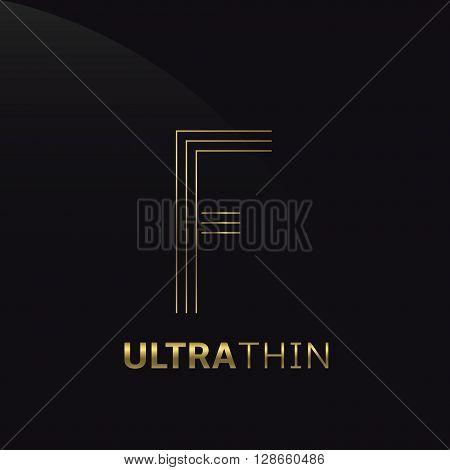 Ultrathin F Letter logo template. Golden F letter symbol