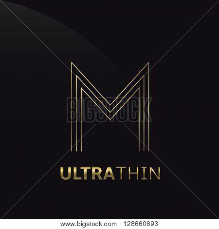 Ultrathin M Letter logo template. Golden M letter symbol