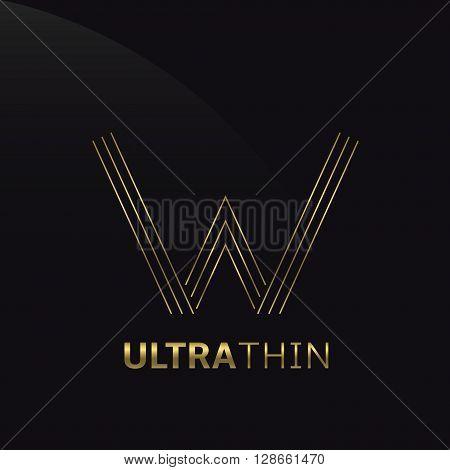 Ultrathin W Letter logo template. Golden W letter symbol
