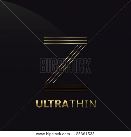 Ultrathin Z Letter logo template. Golden Z letter symbol