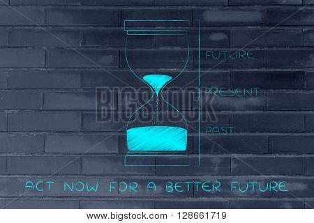 Hourglass With Past, Present & Future, Act Now For A Better Future