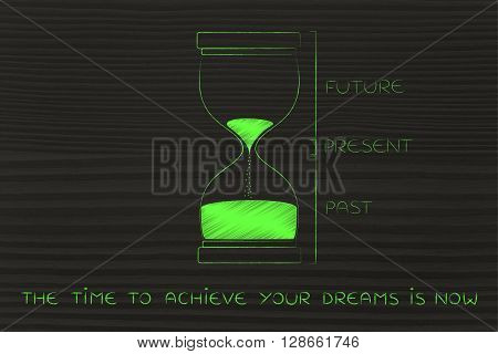 Hourglass With Past, Present & Future, The Time To Achieve Is Now