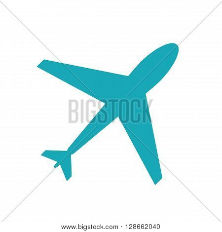 Web icon of blue airplane plane isolated on white background. Airport icon airplane shape. Flat airplane. White airplane icon shape label symbol. Graphic design element for logo web and print.