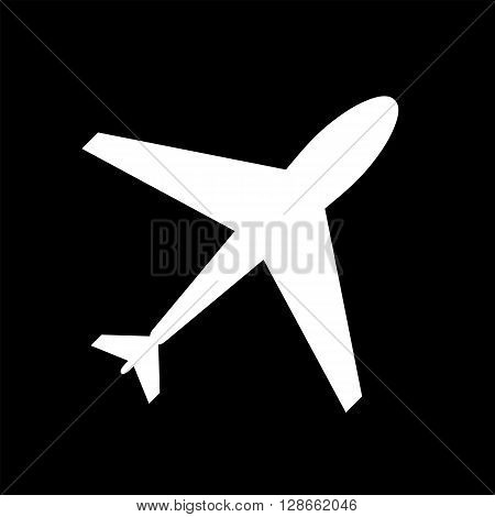 Black and white take off plane web icon. take off plane icon white flat plane shape. Takeoff plane icon shape label symbol. Graphic vector element. Vector design element for logo web and print.
