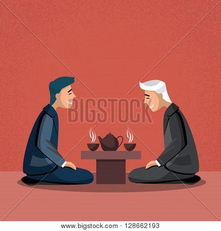 Asian Traditional Tea Ceremony Asia Business Man Flat Design Vector Illustration