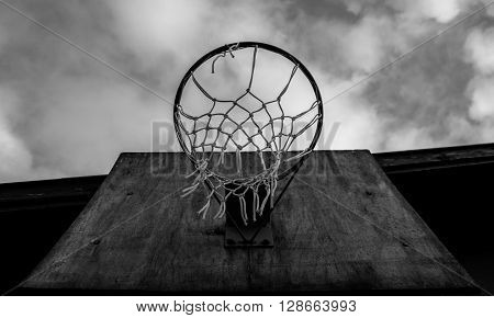 Old Basketball Board and Rim in the park