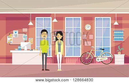 Asia Couple Asia Man Woman In Modern Office Co-working Center Students University Campus Flat Vector Illustration