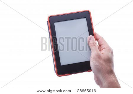 Male hand holding ebook reader in red case against isolated white background