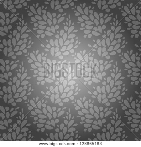 Silver background. Floral silver texture. Silver foil seamless floral ornamental abstract vector pattern. Elegant floral seamless pattern background design element. For invitation. Vector branches.