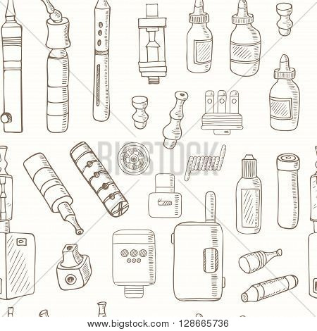 seamless pattern of Vaping icons in sketch style on black background. Vape vector illustration. Vape trend. Illustration of Electronic cigarette. E-cig icons set
