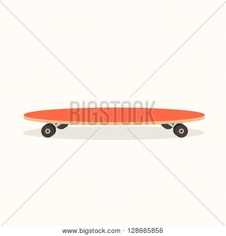 Vector illustration of longboard. Isolated Illustration. Flat colorful longboard. Cartoon style.