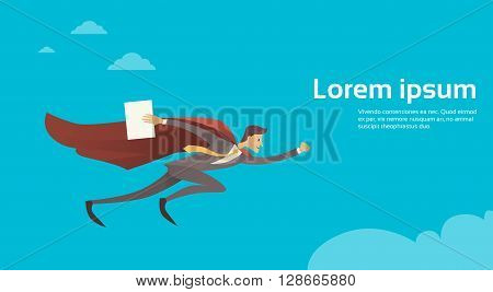 Businessman Super Hero Fly Sky Wear Suit Red Cape Hold Paper Document Copy Space Flat Vector Illustration
