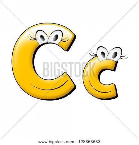 Small eye and smile yellow alphabet. 3d illustration.