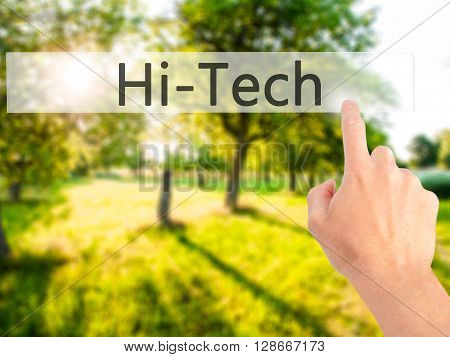 Hitech - Hand Pressing A Button On Blurred Background Concept On Visual Screen.