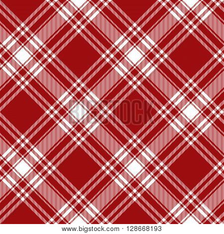 Menzies tartan red kilt diagonal fabric texture background seamless pattern.Vector illustration. EPS 10. No transparency. No gradients.