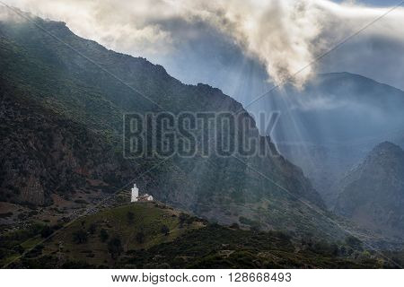 Mosque in the mountains surrounding the town of Chefchaouen in Morocco