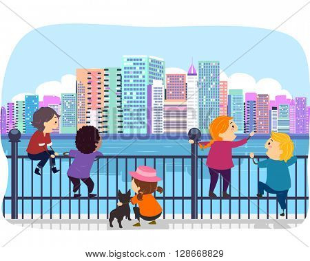 Stickman Illustration of Kids Admiring the Cityscape from the Fence