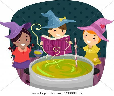 Stickman Illustration of Little Girls Pretending to be Witches