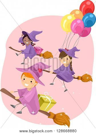 Stickman Illustration of Young Witches Riding Broomsticks