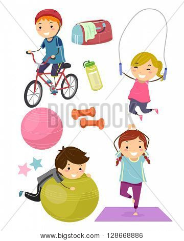 Stickman Illustration Featuring Kids Surrounded with Fitness Related Items