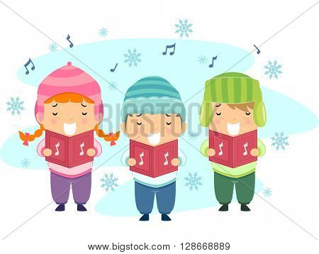 Stickman Illustration Featuring Kids Singing Christmas Carols