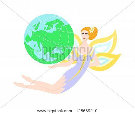 Illustration - concept - with beautiful fairy who is holding a globe.