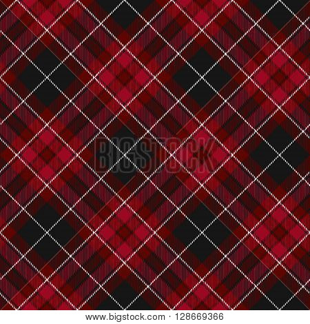 Pride of wales fabric diagonal textile red tartan seamless pattern. Vector illustration. EPS 10. No transparency. No gradients.