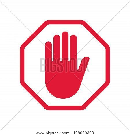 Rad hand blocking sign stop .Vector illustration. EPS 10.