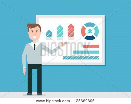 Speaker Giving Presentation Using Diagrams Charts Vector