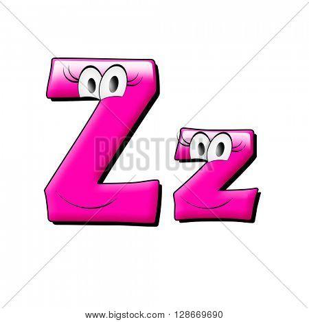 Big eye and smile pink alphabet. 3d illustration.