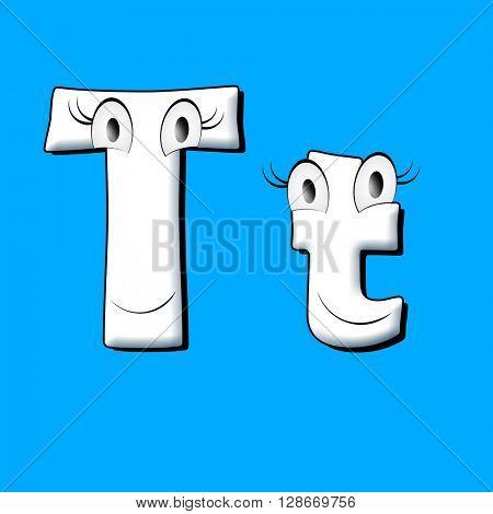 Big eye and smile white alphabet. 3d illustration.