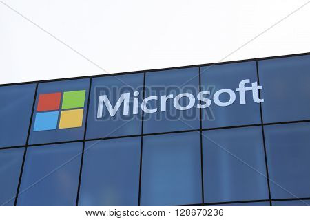 Amsterdam Netherlands-may 5 2016: Microsoft develops computer-related products letters on a wall
