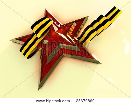 Red star tied with Saint George ribbon on white background. 3D rendering.