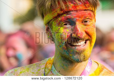 PRAGUE, CZECH REPUBLIC - MAY 30: Portrait of unidentified man at The Color Run on May 30, 2015 in Prague, Czech rep. The Color Run is a worldwide hosted fun race with about 12000 competitors in Prague
