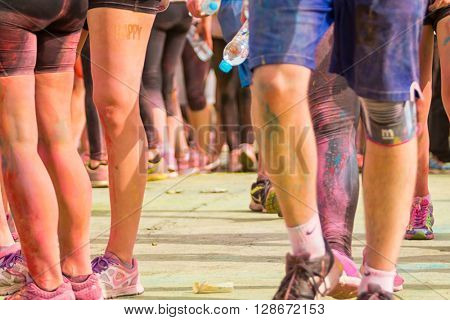 PRAGUE, CZECH REPUBLIC - MAY 30: Detail of legs of people on Color Run on May 30, 2015 in Prague, Czech rep. The Color Run is a worldwide hosted fun race with about 12000 competitors in Prague.