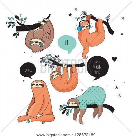 Cute hand drawn sloths, funny vector illustrations