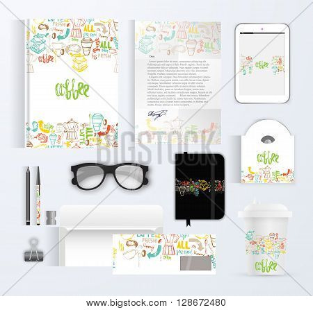 Cafe branding template design with lettering for coffee shop. Hand drawn cafe design mock up. Modern hipster colorful cafe branding with menu, coffe mug, glasses