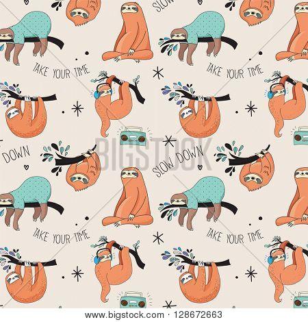 Cute hand drawn sloths, funny vector Cute hand drawn sloths illustrations, seamless pattern