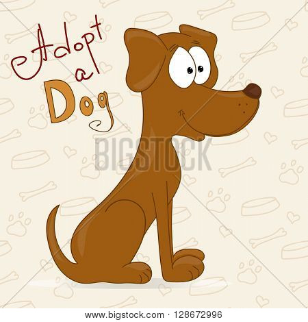 Hand drawn dog in cartoon style. Adopt a dog. Dog adoption concept. Happy dog in cartoon style.