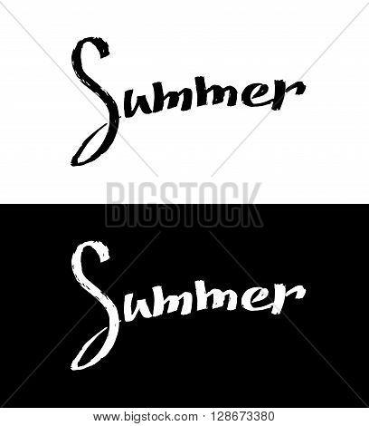 Black and white summer lettering design Summer handlettering text. Graphic design element. Brush type summer lettering text. Vector design element for logo flyer card poster. Vector illustration.